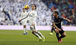 January 19, 2019 - Madrid, Madrid, Spain - Luka Modric (Real Madrid) seen in action during the La Liga match between Real Madrid and Sevilla FC at the Estadio Santiago Bernabéu in Madrid. (Credit Image: © Manu Reino/SOPA Images via ZUMA Wire)