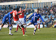 Gillingham forward Luke Norris attempts a shot at goal during the Sky Bet League 1 match between Gillingham and Crewe Alexandra at the MEMS Priestfield Stadium, Gillingham, England on 12 March 2016. Photo by David Charbit.