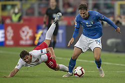 October 14, 2018 - Chorzow, Poland - Bartosz Bereszynski of Poland fouled by Federico Chiesa of Italy during the UEFA Nations League A match between Poland and Italy at Silesian Stadium in Chorzow, Poland on October 14, 2018  (Credit Image: © Andrew Surma/NurPhoto via ZUMA Press)