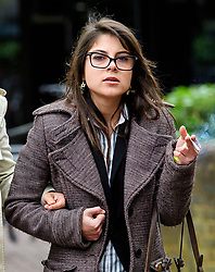 © Licensed to London News Pictures. 09/05/2017. London, UK. CAROLA CONTI leaves Isleworth Crown Court in London where she and ANTHONY GRANT (not pictured) were sentenced for threatening and abusive manner towards a member of cabin staff while on a flight from Heathrow to Malaysia. The couple forced a flight from Malaysia to be diverted when they swore at crew and passengers in a row over a broken TV screen. Photo credit: Ben Cawthra/LNP