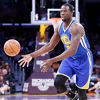 11 April 2014: Golden State Warriors forward Draymond Green (23) passes the ball during the Golden State Warriors 112-95 victory over the Los Angeles Lakers at the Staples Center, Los Angeles, California, USA.