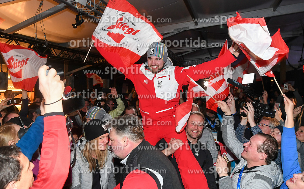 11.02.2018, Austria House, Pyeongchang, KOR, PyeongChang 2018, Medaillenfeier, im Bild David Gleirscher // during the Celebration of the gold medal of the Men's Luge Singles competition of the Pyeongchang 2018 Winter Olympic Games at the Austria House in Pyeongchang, South Korea on 2018/02/11. EXPA Pictures © 2018, PhotoCredit: EXPA/ Erich Spiess