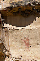 Fremont People rock art pictograph (prehistoric rock painting dated 600-1300 AD) in the Douglas Creek Canyon south of Rangely, Colorado, USA on Bureau of Land Management (BLM) public lands.