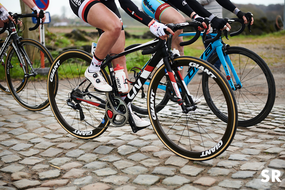 Team Sunweb bouncing across the cobbles at Brabantse Pijl 2018, a 136.8 km road race starting and finishing in Gooik on April 11, 2018. Photo by Sean Robinson/Velofocus.com