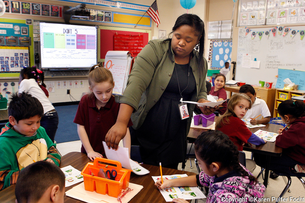 Memphis Teacher Residency resident, Starr Garrett is teaching her elementary school class. She is part of the Memphis Teacher Residency program and is teaching in the Memphis public school, Kingsbury Elementary.  When she is done she will have earned a masters degree in education.