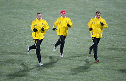 01.12.2010, Stadionul Steaua, Bucharest, ROM, UEFA Europa League, FC Steaua Bucuresti v Liverpool FC, training Liverpool, im BildLiverpool's Danny Wilson, Maximiliano Ruben Maxi Rodriguez and Milan Jovanovic training at the Stadionul Steaua ahead of the UEFA Europa League Group K match against FC Steaua Bucuresti. EXPA Pictures © 2010, PhotoCredit: EXPA/ Propaganda/ David Rawcliffe +++++ ATTENTION - OUT OF ENGLAND/UK +++++