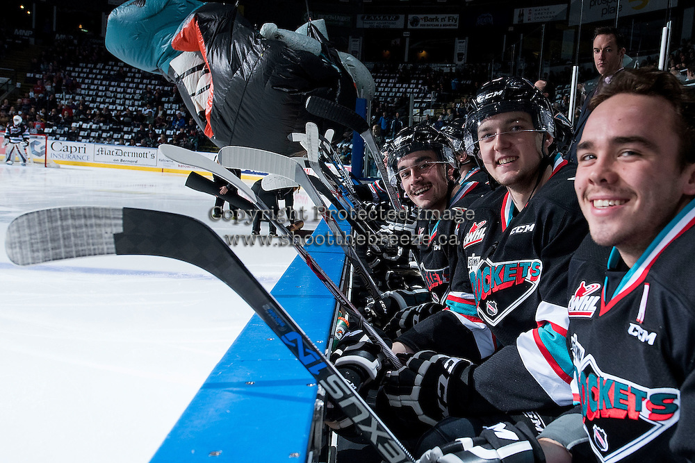 KELOWNA, CANADA - NOVEMBER 20: Tanner Wishnowski #9, Tomas Soustal #15 and Rodney Southam #17 of Kelowna Rockets sit on the bench showing their Movember mustaches at the start of the game against the Edmonton Oil Kings on November 20, 2015 at Prospera Place in Kelowna, British Columbia, Canada.  (Photo by Marissa Baecker/ShoottheBreeze)  *** Local Caption *** Tanner Wishnowski; Rodney Southam; Tomas Soustal;