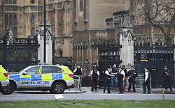 Police outside the Palace of Westminster, London, after sounds similar to gunfire have been heard close to the Palace of Westminster. A man with a knife has been seen within the confines of the Palace, eyewitnesses said.