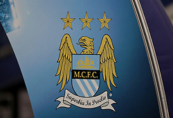 MANCHESTER, ENGLAND - Tuesday, March 15, 2016: Manchester City's club crest during the UEFA Champions League Round of 16 2nd Leg match against FC Dynamo Kyiv at the City of Manchester Stadium. (Pic by David Rawcliffe/Propaganda)