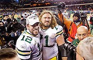 .Green Bay Packers' Aaron Rodgers and Josh Sitton after the Packers beat the Bears 21-14.The Green Bay Packers traveled to Soldier Field in Chicago to play the Chicago Bears in the NFC Championship Sunday January 23, 2011. Steve Apps-State Journal.