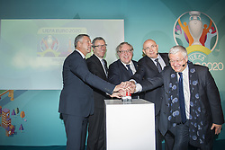 December 14, 2016 - Brussels, BELGIUM - Brussels alderman Alain Courtois, Brussels City mayor Yvan Mayeur, KBVB-URBSFA Belgium soccer union chairman Francois De Keersmaecker, Michael Van Praag and Brussels region Minister of Finance, Budget and External relations Guy Vanhengel pictured during a special ceremony for the launch of the logo of Euro 2020 Brussels, as host city of the 2020 European soccer championships, in Brussels city hall, Wednesday 14 December 2016, with UEFA, Belgian soccer federation KBVB - URBSFA, Brussels Region government and Brussels city. BELGA PHOTO LAURIE DIEFFEMBACQ (Credit Image: © Laurie Dieffembacq/Belga via ZUMA Press)
