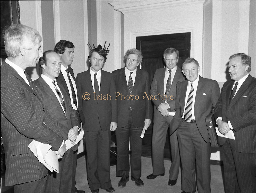 Taoiseach Meets With Unionist Representatives. (N96)..1981..08.10.1981..10.08.1981..8th October 1981..At Government Buildings, An Taoiseach, Dr Garret Fitzgerald, met with representatives of the Northern Ireland Unionist Community. They hoped to discuss on-going problems which were bedeviling the communities in the North of Ireland...Image shows An Taoiseach, Dr Garret Fitzgerald and An Tanaiste, Mr Michael O'Leary  welcoming the Northern Unionists to Leinster House, Dublin..Pictured (L-R), Mr Bob McCartney, Q.C., Mr Peter Smith Q.C., Bryan Somers, Businessman, Mr Michael O'Leary TD, Dr Garret Fitzgerald TD, Mr Sean Hall, Mr Herbert McCracken and Mr Gordon Smyth,Businessman.