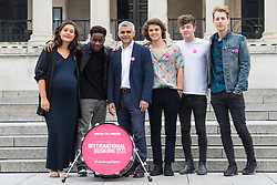 Trafalgar Square, London, July 22nd 2016. International Busking Day is launched in London by Mayor Sadiq Khan together with Jessie Ware, Tinchy Strider, Irish band Keywest and The Vamps. PICTURED: Mayor of London Sadiq Khan poses with Jessie Ware, Tinchy Strider and The Vamps.<br /> <br /> &copy;Paul Davey<br /> FOR LICENCING CONTACT: Paul Davey +44 (0) 7966 016 296 or 020 8969 6875 paul@pauldaveycreative.co.uk