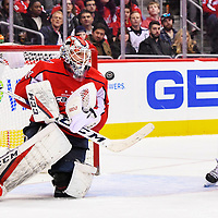 WASHINGTON, DC - FEBRUARY 09:  Washington Capitals goaltender Braden Holtby (70) makes a second period save against the Columbus Blue Jackets on February 9, 2018, at the Capital One Arena in Washington, D.C.  The Washington Capitals defeated the Columbus Blue Jackets, 4-2. (Photo by Mark Goldman/Icon Sportswire)