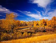 Big Timber Creek in autumn with Crazy Mountains near Big Timber, Montana, USA