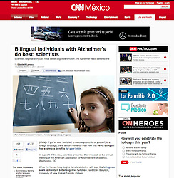 Tearsheet from CNN website- girl learning Chinese