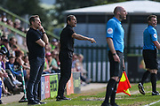 Cambridge United manager Colin Calderwood(centre) during the EFL Sky Bet League 2 match between Forest Green Rovers and Cambridge United at the New Lawn, Forest Green, United Kingdom on 22 April 2019.