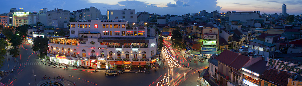 Panoramic view from Lake View Café at sunset, Hoan Kiem District, Hanoi, Vietnam