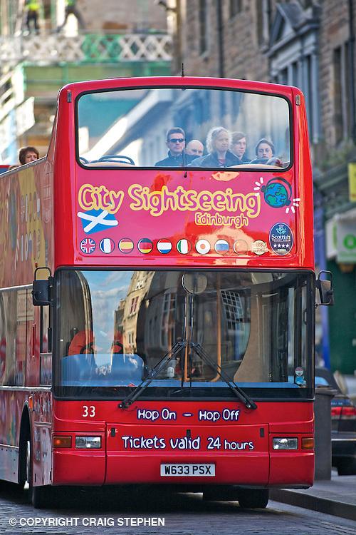 A city sightseeing bus on Edinburghs' Royal Mile