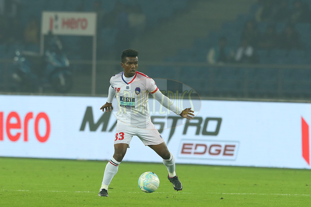 Munmun Timothy Lugun of Delhi Dynamos FC during match 25 of the Hero Indian Super League between Delhi Dynamos FC and FC Goa held at the Jawaharlal Nehru Stadium, Delhi, India on the 16th December 2017<br /> <br /> Photo by: Ron Gaunt / ISL / SPORTZPICS