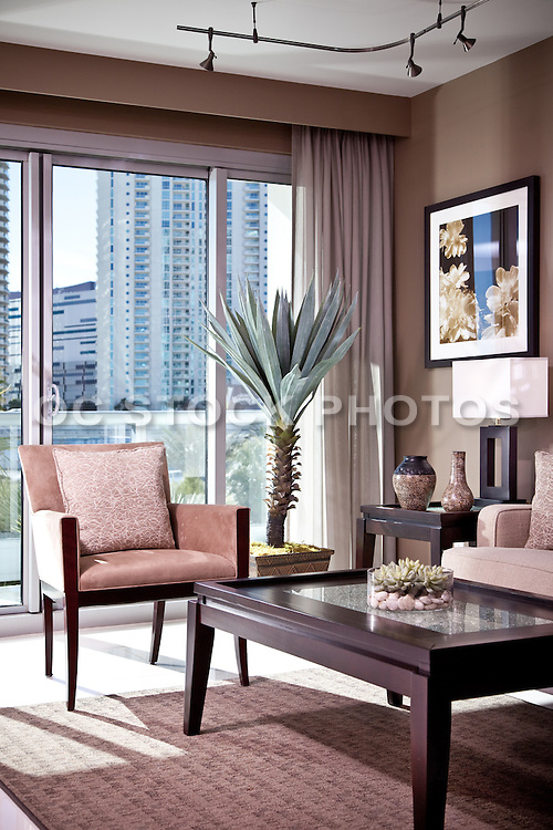Interior Photo Of Living Room In High Rise Condo