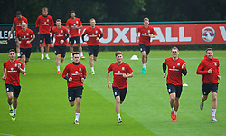CARDIFF, WALES - Wednesday, August 31, 2016: Wales' James Chester, Tom Lawrence, Ben Davies, Sam Vokes and Chris Gunter during a training session at the Vale Resort ahead of the 2018 FIFA World Cup Qualifying Group D match against Moldova. (Pic by David Rawcliffe/Propaganda)
