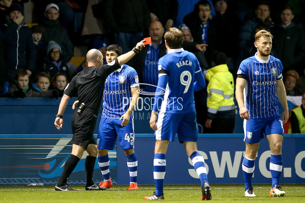 Sheffield Wednesday forward  Fernando Forestieri (45) is sent off and receives a red card  during the EFL Sky Bet Championship match between Sheffield Wednesday and Preston North End at Hillsborough, Sheffield, England on 3 December 2016. Photo by Simon Davies.