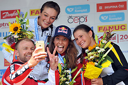 June 2, 2018 - Prague, Czech Republic - Winners of Women's C1 finals at victory ceremony Mallory Franklin of Great Britan and Viktoria Wolffhardt of Austria and Elena Apel of Germany at the European Canoe Slalom Championships 2018 at Troja water canal in Prague, Czech Republic. (Credit Image: © Slavek Ruta via ZUMA Wire)