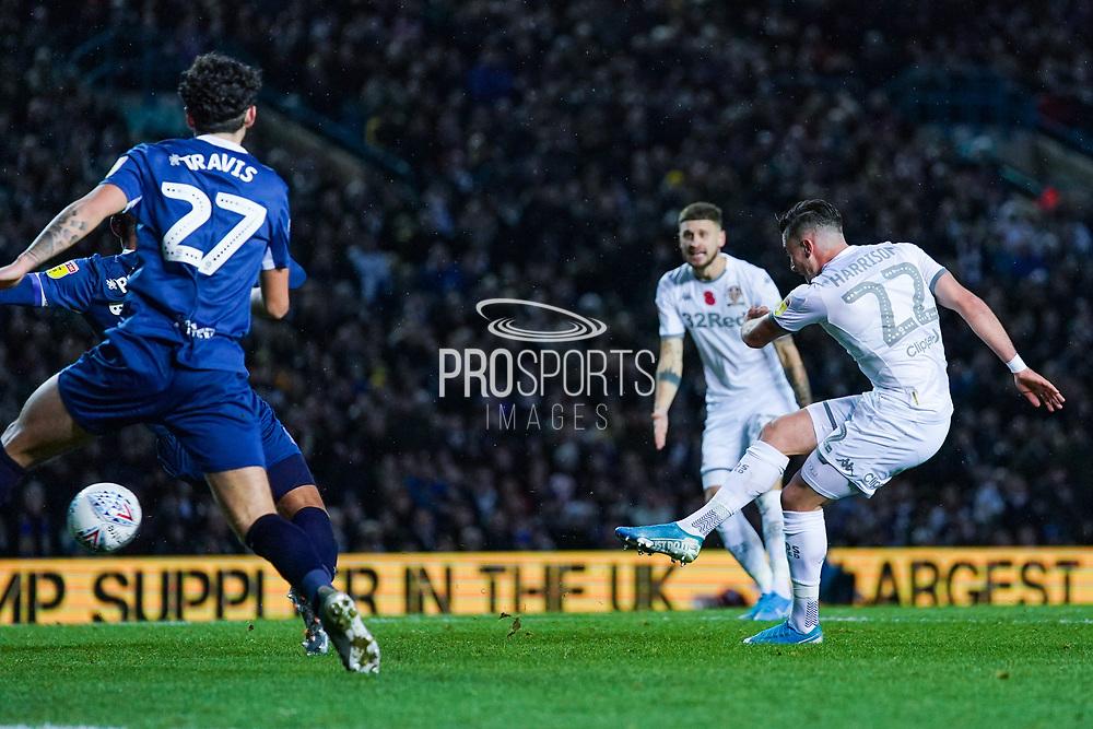Leeds United midfielder Jack Harrison (22) takes a shot during the EFL Sky Bet Championship match between Leeds United and Blackburn Rovers at Elland Road, Leeds, England on 9 November 2019.