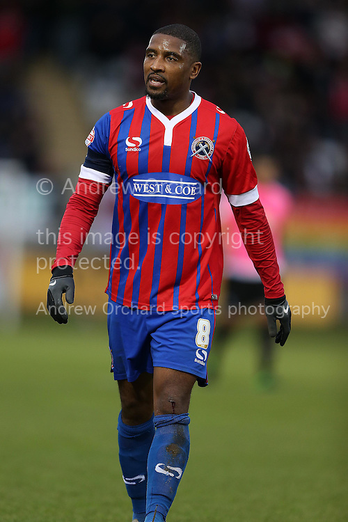 Andre Boucaud, Dagenham &amp; Redbridge captain looks on. The Emirates FA Cup, 2nd round match, Dagenham &amp; Redbridge v Whitehawk FC at the The London Borough of Barking &amp; Dagenham Stadium in London on Sunday 6th December 2015.<br /> pic by John Patrick Fletcher, Andrew Orchard sports photography.