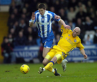 Photo: Olly Greenwood.<br />Colchester United v Leicester City. Coca Cola Championship. 13/01/2007. Colchester's Greg Halford and Leicester's Danny Tiatto