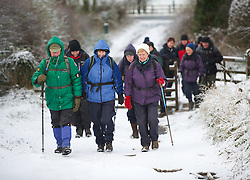 © Licensed to London News Pictures. 05/12/2012..Yorkshire, England..Overnight snow fall brings the first signs of the wintery weather that is forecast for the rest of this week to Roseberry Topping in North Yorkshire as a group of walkers begin the long climb to the top...Photo credit : Ian Forsyth/LNP
