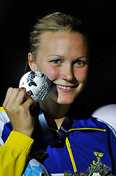 02.08.2013, Barcelona, ESP, FINA, Weltmeisterschaften für Wassersport, Medailliengewinner, im Bild Sarah Sjostrom, from Sweden, silver medal at 100m Freestyle Women Finalist Victory Ceremony // during the FINA worldchampionship of waterpolo, medalists in Barcelona, Spain on 2013/08/02. EXPA Pictures © 2013, PhotoCredit: EXPA/ Pixsell/ HaloPix<br /> <br /> ***** ATTENTION - for AUT, SLO, SUI, ITA, FRA only *****