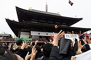 Beans are thrown during a traditional setsubun ceremony to dispel demons at Zojoji temple in Tokyo February 3, 2018. Bean-scattering ceremonies also celebrate the coming of spring in Japan. 03/02/2018-Tokyo, JAPAN