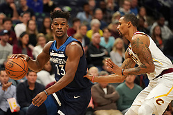 October 19, 2018 - Minneapolis, MN, USA - The Minnesota Timberwolves' Jimmy Butler (23) works off the dribble against the Cleveland Cavaliers' George Hill (3) in the first half on Friday, Oct. 19, 2018, at the Target Center in Minneapolis. (Credit Image: © Anthony Souffle/Minneapolis Star Tribune/TNS via ZUMA Wire)