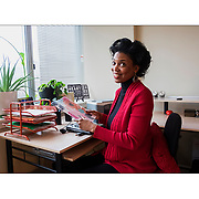 Thursday  December 29, 2016 Diane Mastrull writes about Janet Taylor, a professional organizer and small-business owner who will be a featured performer at the Philly Home Show later this month. Here, Janet Taylor at he clean and well organized desk.  ED HILLE / Staff Photographer
