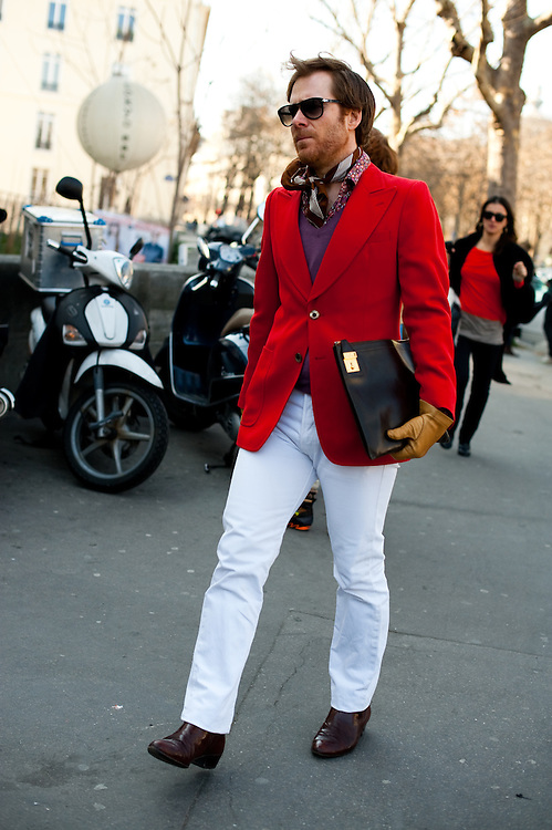 Red Blazer and White Jeans, Outside Costume National