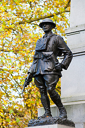 Statue of an officer of the York & Lancaster regiment on the York & Lancaster War Memorial in Weston Park Sheffield<br />