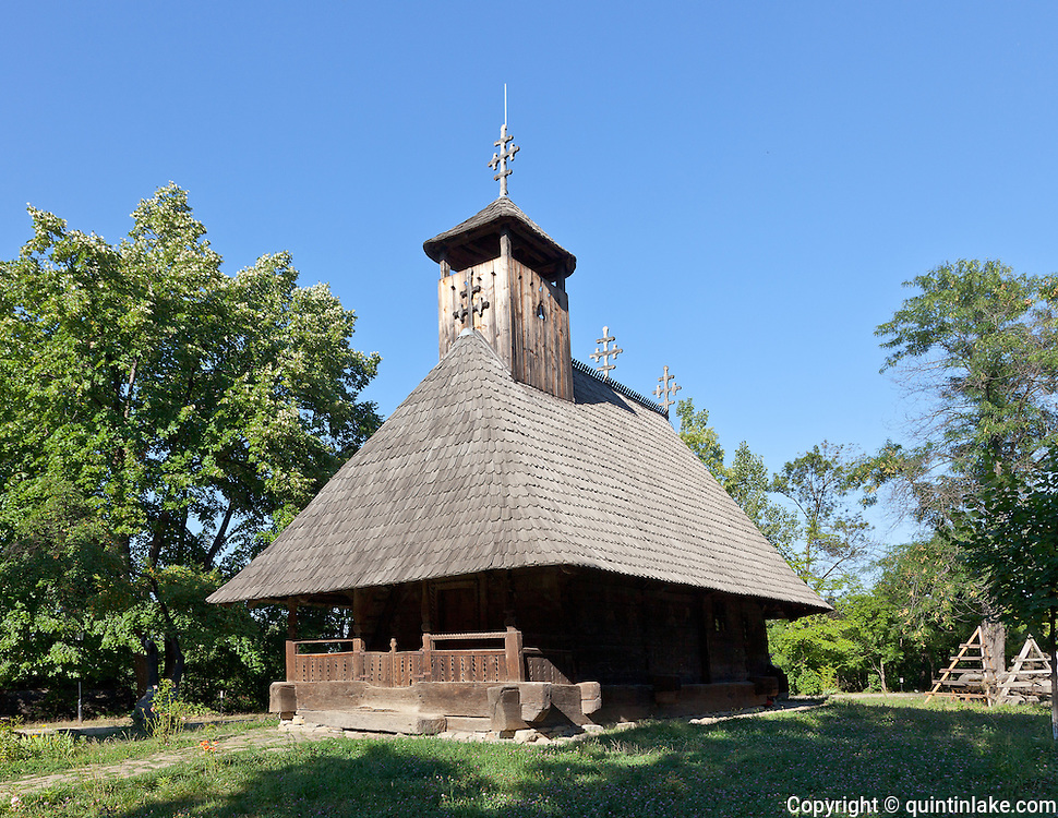 St Nicholas Wooden church, from Boncea, Timiseni, Girj. Built from oak beams in 1773. Dimitrie Gusti National Village Museum (Muzeul Satului) in Bucharest, Romania