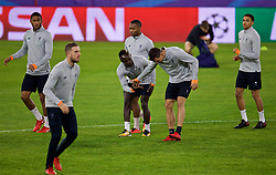 SEVILLE, SPAIN - Monday, November 20, 2017: Liverpool's Sadio Mane and Dejan Lovren during a training session ahead of the UEFA Champions League Group E match between Sevilla FC and Liverpool FC at the Estadio Ramón Sánchez Pizjuán. (Pic by David Rawcliffe/Propaganda)