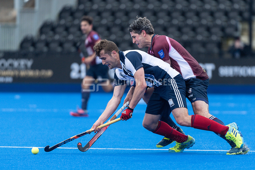 Hampstead & Westminster's Matt Guise-Brown. Wimbledon v Hampstead & Westminster - Men's Hockey League Finals, Lee Valley Hockey & Tennis Centre, London, UK on 28 April 2018. Photo: Simon Parker