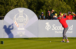 Solheim Cup 2019 at Centenary Course at Gleneagles in Scotland, UK. Lexi Thompson casts a shadow during drive on 18th hole during the Friday Afternoon Fourballs.