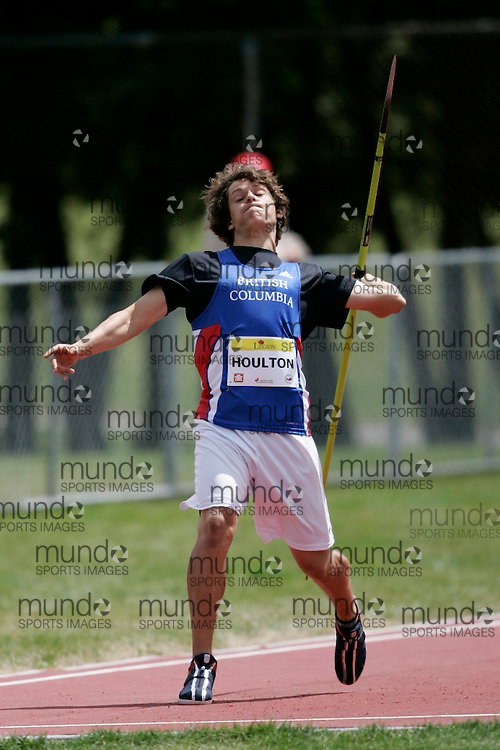 Ottawa, Ontario ---10-08-06--- Houlton competes in the javelin at the 2010 Royal Canadian Legion Youth Track and Field Championships in Ottawa, Ontario August 6, 2010..GEOFF ROBINS/Mundo Sport Images.