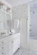 Stamford home, bathroom. Interior design by Jeffrey Kilmer Design.