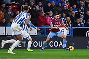 Robert Snodgrass of West Ham United (11) takes on his marker during the Premier League match between Huddersfield Town and West Ham United at the John Smiths Stadium, Huddersfield, England on 10 November 2018.