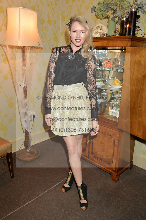 SARAH COULTHURST at the Bumpkin Halloween Dinner hosted by Marissa Hermer held at Bumpkin, 119 Sydney Street, London on 23rd October 2014.