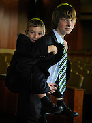 Mitchell Traub is preparing to make his Bar Mitzvah, and with him the whole way is his younger brother Ethan.