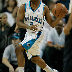12 November 2008: New Orleans Hornets guard Chris Paul (3) looks to pass during a NBA regular season game between the Los Angeles Lakers and the New Orleans Hornets at at the New Orleans Arena in New Orleans, LA..