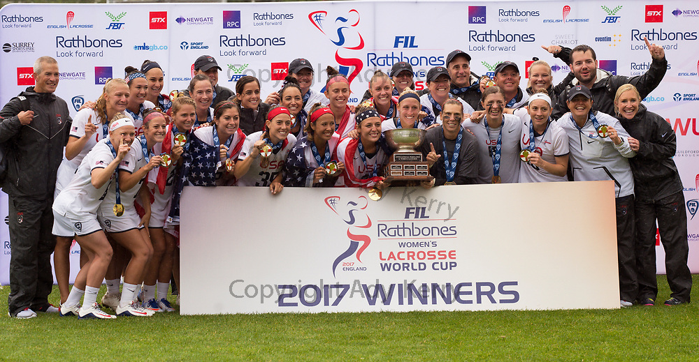 USA celebrates winning the World Cup after defeating Canada 10 -5 2017 FIL Rathbones Women's Lacrosse World Cup, at Surrey Sports Park, Guildford, Surrey, UK, 22nd July 2017.