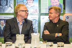Pictured: Alex McLeish and Charlie Nicholas<br /> Veteran commentator Archie MacPherson was at Hampden Park today as he announced the publication of his latest book:  Adventures in the Golden Age - Scotland in the World Cup Finals 1974-1998, due to be published on 26 April  MacPherson was joined by former and  current Scotland manager Craig Brown and Alex McLeish respectivly  along with ex-Celtic, Arsenal and Scotland player Charlie Nicholas who was Archie's co-commentator at the Mexico World Cup. <br /> <br /> Ger Harley | EEm 25 April 2018